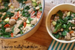 White Bean Kale and Sausage Stew from Lauren Kelly Nutrition, healthy comfort food!