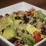Quinoa Avocado Tomato Corn and Black Bean Salad with Cilantro Lime Vinaigrette