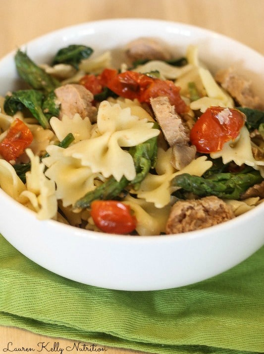 Pasta and Sausage in Garlic White Wine Sauce from Lauren Kelly Nutrition