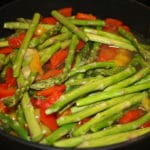 Fresh Asparagus Mushrooms Yellow Tomatoes and Orange Peppers with Brown Rice Pasta **Gluten Free**