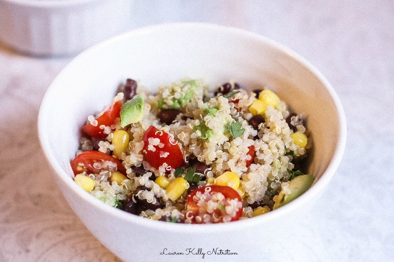 Quinoa Black Bean Avocado Salad with Cilantro Lime Vinaigrette,. This is a HUGE crowd pleaser! #vegan #glutenfree