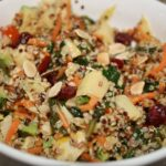 Tri Color Quinoa Salad with Veggies, Avocado, Cranberries and Almonds