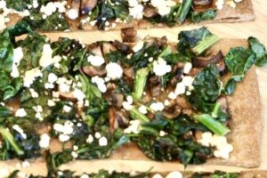 Grilled Kale Spinach Goat Cheese Pizza