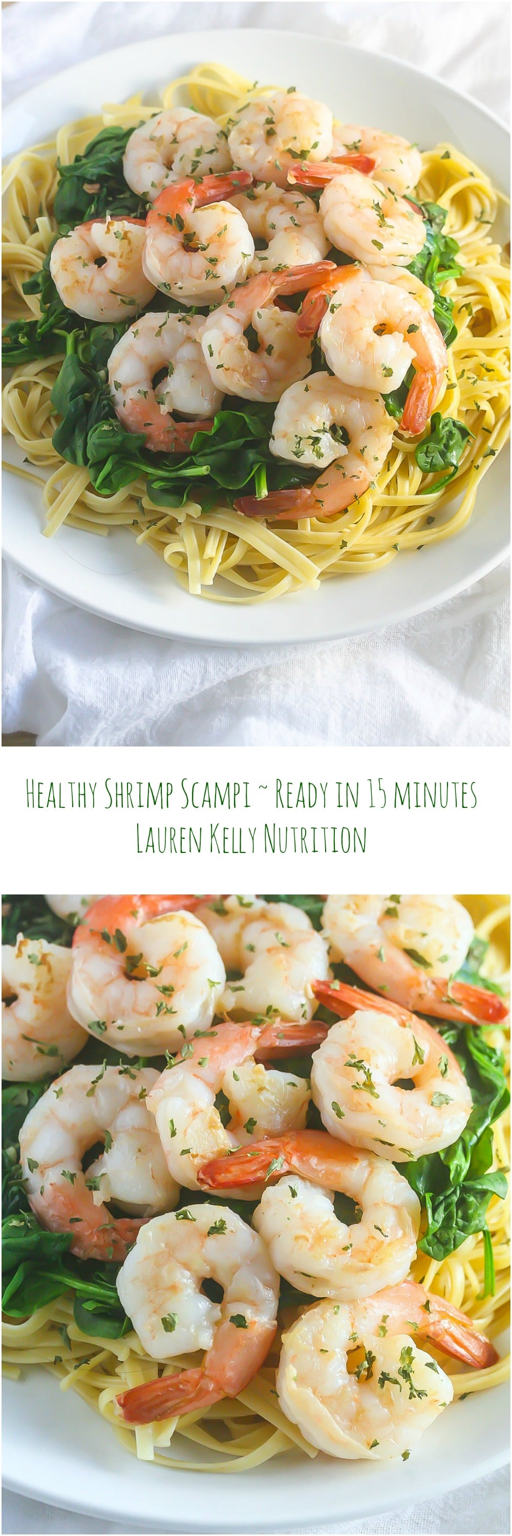 This Healthy Shrimp Scampi is so delicious and is ready in 15 minutes! www.laurenkellynutrition.com