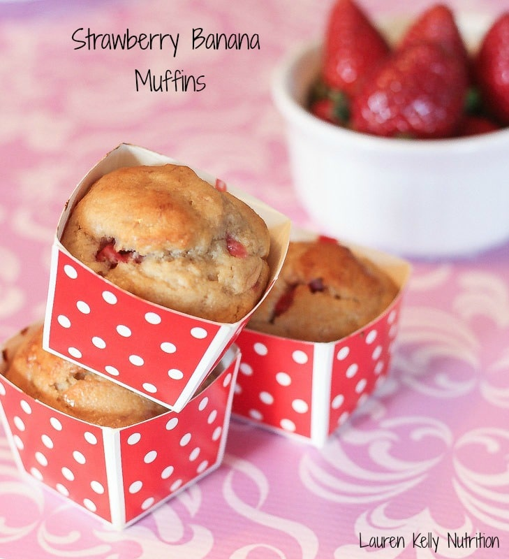 These Strawberry Banana Muffins are lightened up with Greek yogurt and are so delicious! Straight from The Greek Yogurt Cookbook!
