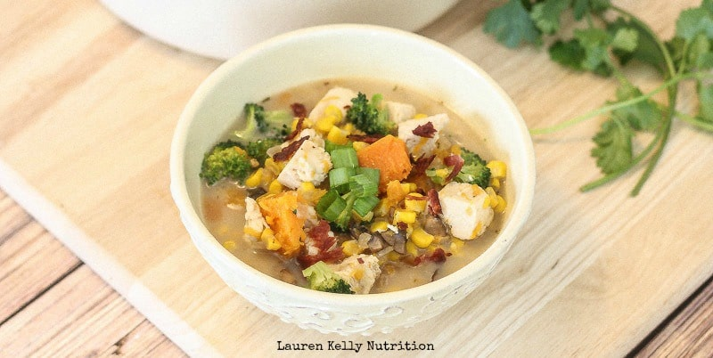 This Chicken Broccoli Corn Chowder is hearty enough for comfort food but healthy enough for a second serving! From Lauren Kelly Nutrition