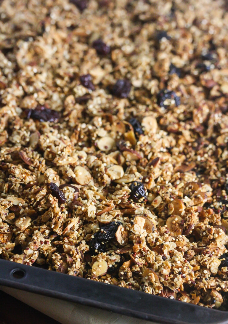 This Sweet Cherry Quinoa Granola is make with all wholesome ingredients! Gluten Free too! From Lauren Kelly Nutrition