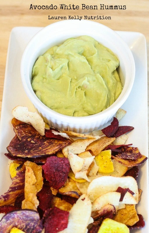 This Avocado White Bean Hummus is not only healthy but it's also a huge crowd pleaser! From Lauren Kelly Nutrition