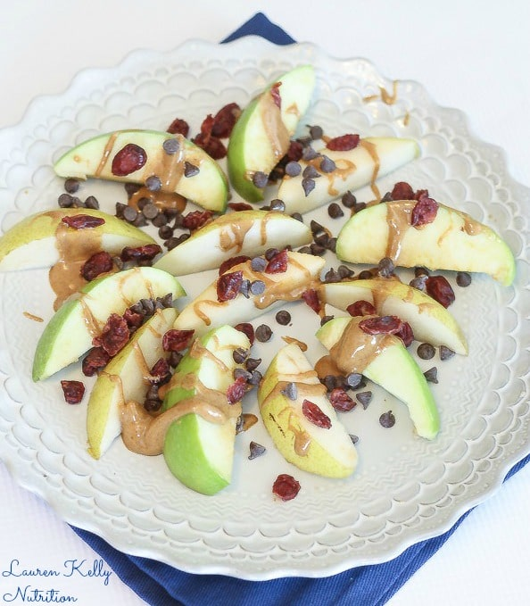 These Apple Pear Nachos make the perfect after school snack! Easy, Healthy & Delicious.  From The Wheat-Free Diet Cookbook, Lauren Kelly Nutrition