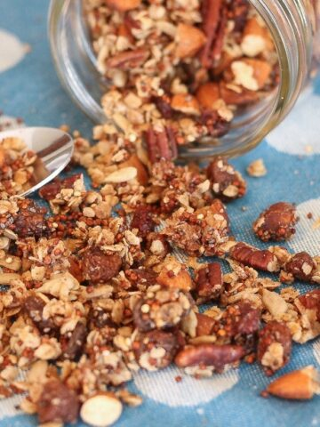 This Quinoa Granola is packed with protein and fiber and contains no refined sugar! #wheatfree #glutenfree #dairyfree