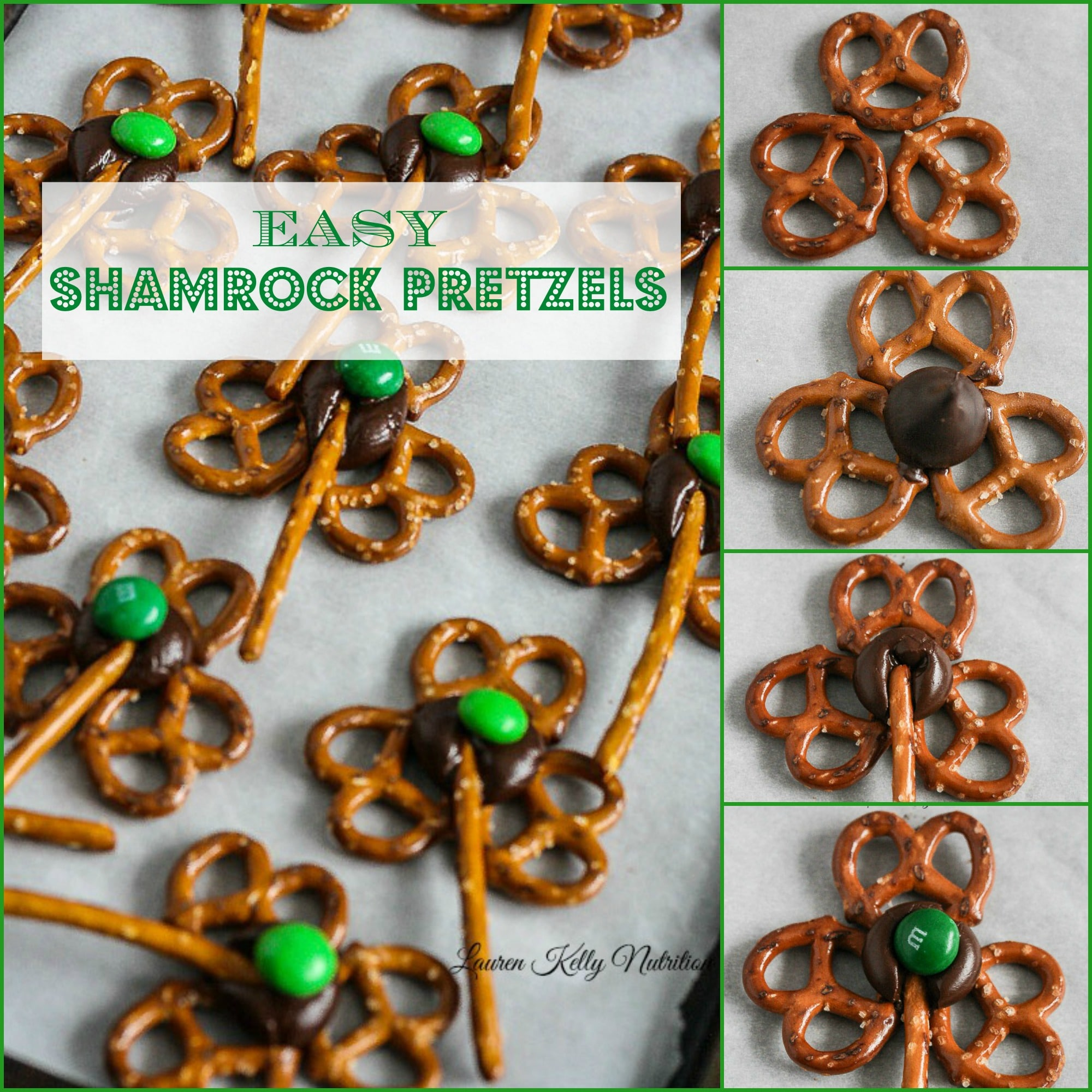 The Easiest Shamrock Pretzels! From Lauren Kelly Nutrition