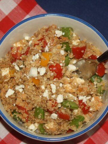 Quinoa Lentil Feta Salad - Lauren Kelly Nutrition