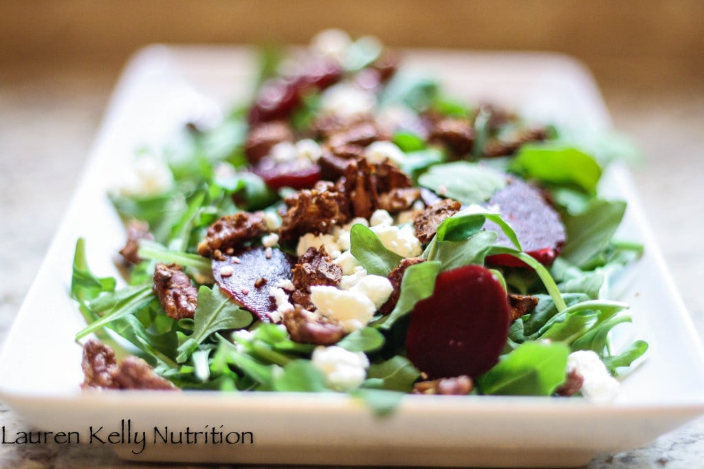 Arugula Beet Salad with Beets Candied Pecans and Gorgonzola Cheese