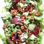 Arugula Beet Salad with Candied Pecans & Gorgonzola Cheese