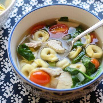 Leftover Turkey Spinach Tortellini Soup