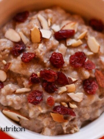 Toasted Almond Cranberry Oatmeal in the Slow Cooker