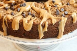 Easy Vegan and Gluten Free Peanut Butter Cake with Peanut Butter Drizzle
