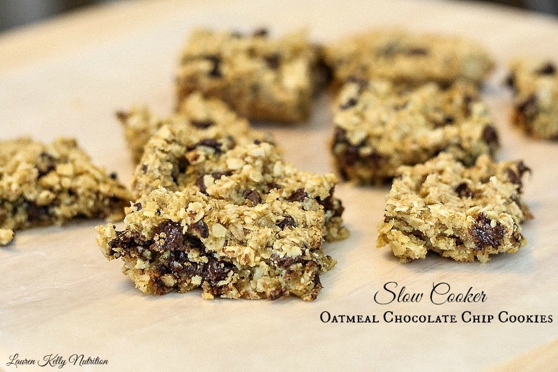 Slow Cooker Healthy Oatmeal Chocolate Chip Cookies are gluten free and so easy to make! www.laurenkellynutrition.com