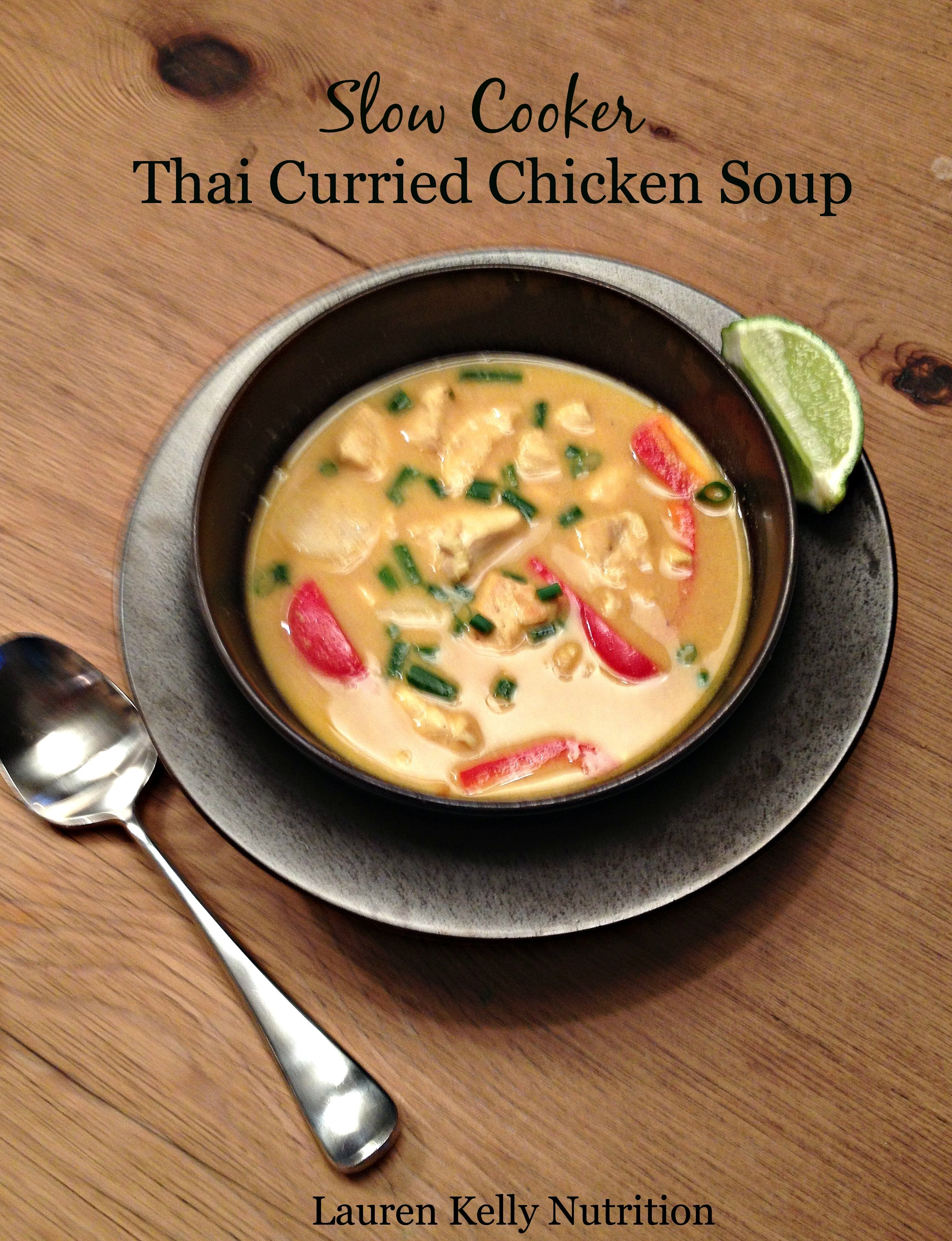Delicious and simple to make comfort food! This Slow Cooker Thai Curried Chicken Soup is the perfect low carb dinner.