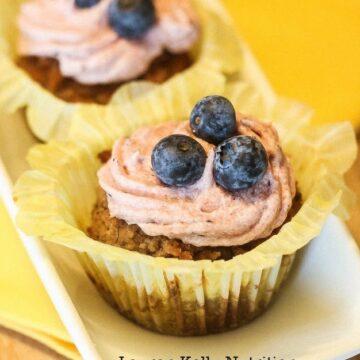 Vegan Banana Cupcakes Blueberry Buttercream Frosting - Lauren Kelly Nutrition
