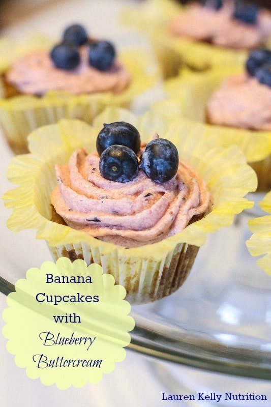 Vegan Banana Cupcakes with Blueberry Buttercream Frosting - Lauren Kelly Nutrition