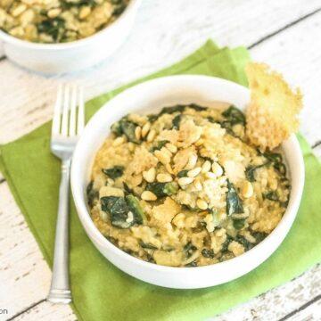 Apple Kale Risotto with Parmesan Crisps Lauren Kelly Nutrition