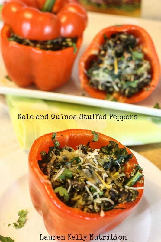 Kale and Quinoa Stuffed Peppers - Lauren Kelly Nutrition