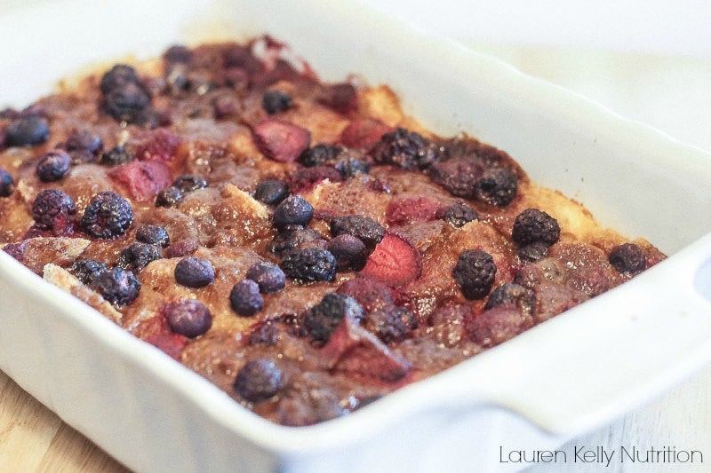 Overnight Mixed Berry French Toast Casserole - Lauren Kelly Nutrition