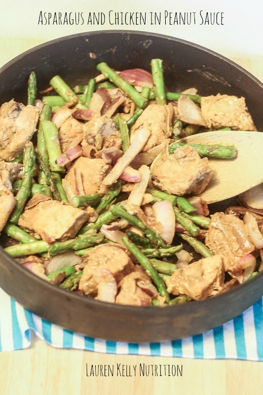 Asparagus and Chicken in Peanut Sauce - Lauren Kelly Nutrition