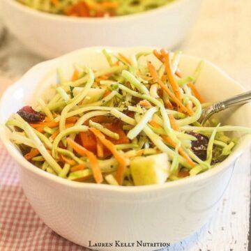 Raw Broccoli Slaw with Chia Balsamic Vinaigrette | Lauren Kelly Nutrition