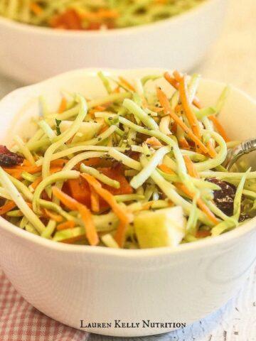 Raw Broccoli Slaw with Chia Balsamic Vinaigrette   Lauren Kelly Nutrition