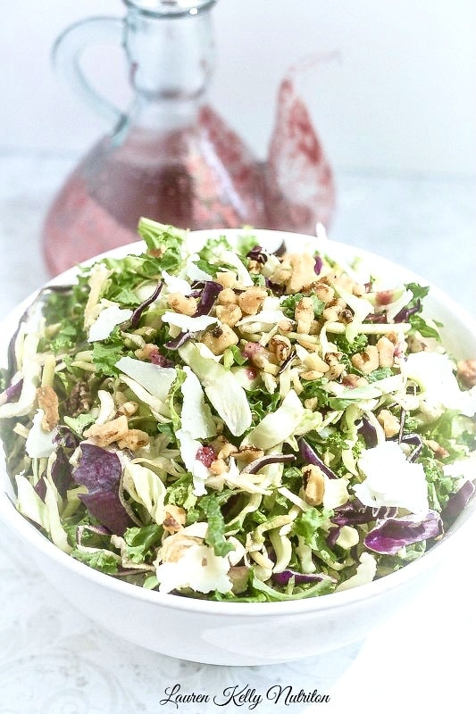 Kale and Brussels Sprouts Salad with Blackberry Green Tea Vinaigrette