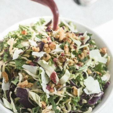 Kale and Brussels Sprouts Salad with Green Tea Vinaigrette | Lauren Kelly Nutrition