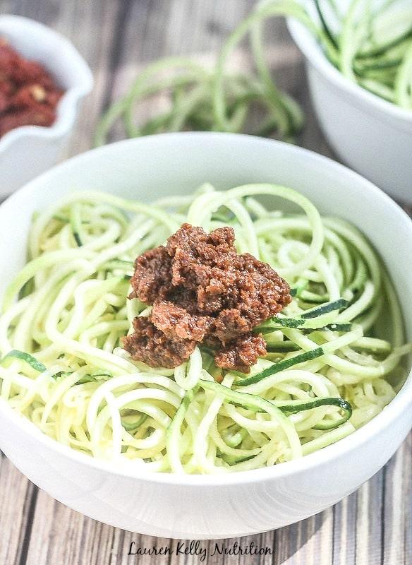 Zucchini Spiralized Noodles with Sundried Tomato Pesto