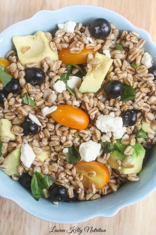 Summer Farro Salad from Lauren Kelly Nutriiton