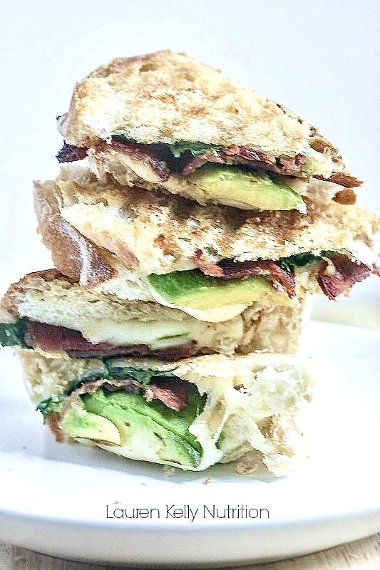 Grilled Jarlsberg with Avocado Spinach and Bacon. This is the perfect grilled cheese with some added omega fatty acids, vitamins and minerals.