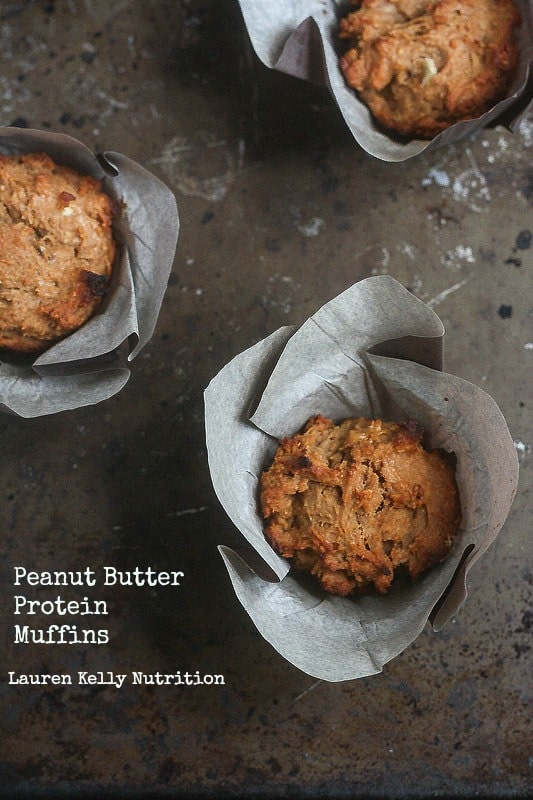 Peanut Butter Protein Muffins ~ Lauren Kelly Nutrition #healthy
