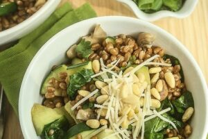 Warm Spinach Mushroom Wheat Berry Salad