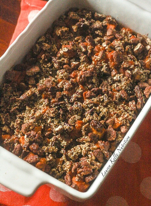 Maple Sweet Potato Casserole is vegan and has no unrefined sugars! It's crazy delicious and perfect for the holidays! www.laurenkellynutrition.com