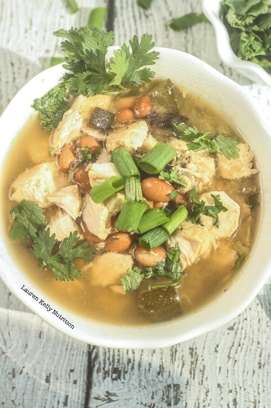 This White Chicken chili is low carb, healthy and delicious!