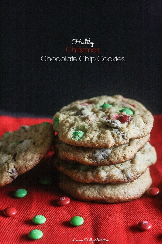 These Christmas Chocolate Chip Cookies are made healthier than others and still taste delicious!