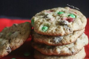 These Christmas Chocolate Chip Cookies are made healthier but still taste delicious!