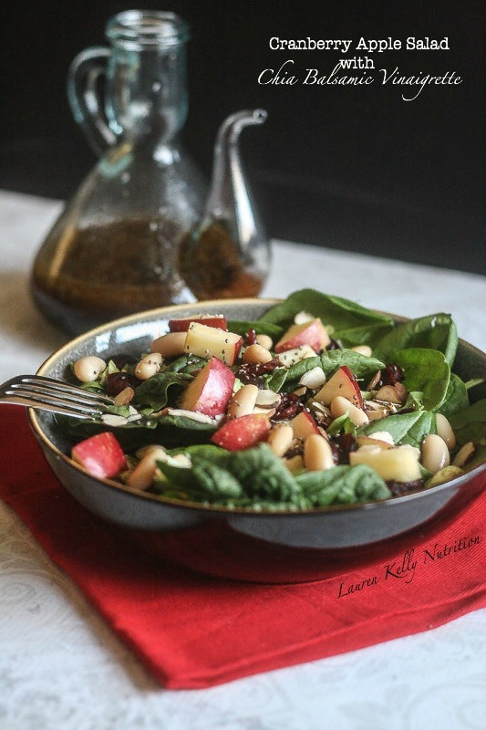 This Cranberry Apple Salad with Chia Balsamic Vinaigrette is so delicious you will want to make it every day!