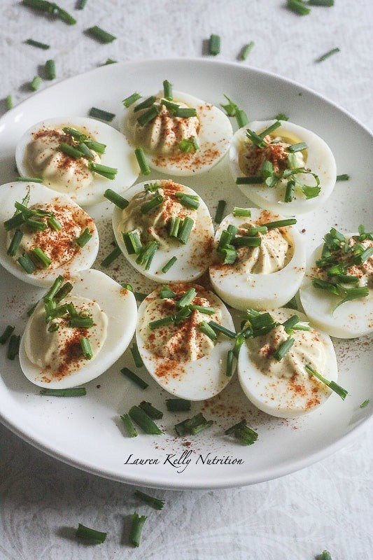 These Deviled Eggs are lightened up with Siggi's yogurt and are still the most popular appetizer at any party! @siggisdairy #ad
