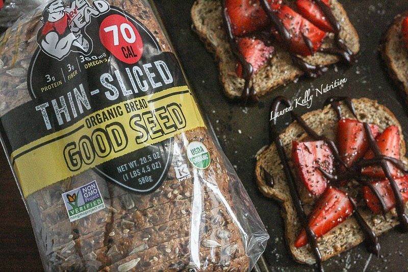 The Toast with The Most,make your toast delicious with Dave's Killer Bread and Lauren Kelly Nutrition, Strawberry Almond Butter Chia Toast