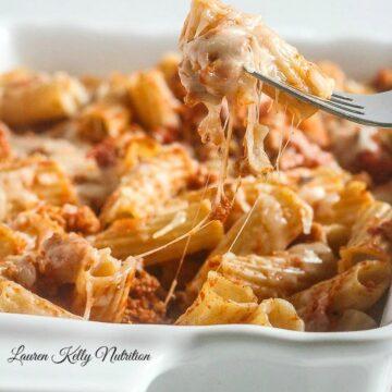 The Easiest Baked Ziti Ever! www.laurenkellynutrition.com