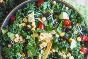 Chopped Mexican Kale Salad with Creamy Avocado Dressing {Vegetarian}