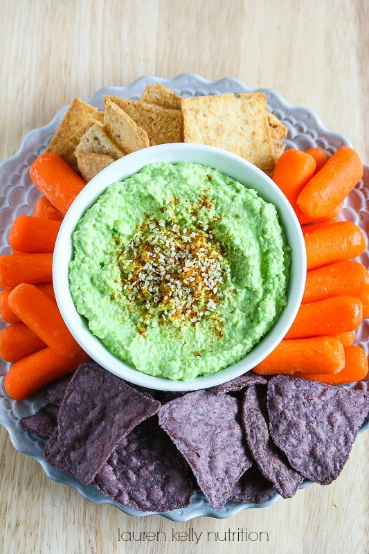 At only 58 calories per serving, this High Protein Edamame Hummus is healthy and crazy delicious! #AllWhitesEggWhites
