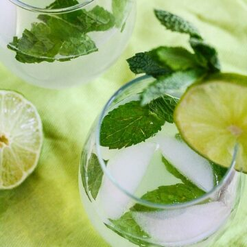 This Mojito Wine Spritzer is low calorie, sugar free, refreshing and delicious! www.laurenkellynutrition.com