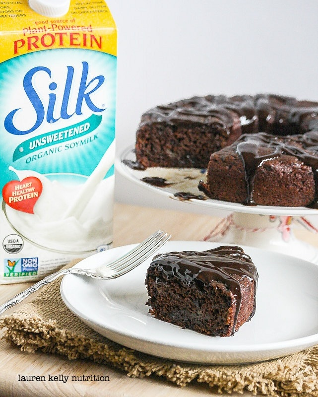 This decadent Triple Chocolate Cake is vegan and packed with protein!  #ILoveSilkSoy #vegan #dairyfree